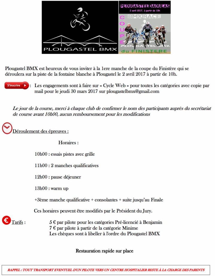Invitation Club Plougastel BMX Course du 02 04 2017